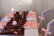 Ružovo-hnedá svadobná výzdoba