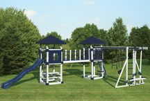 Double Tower Playsets / Let the fun begin with a Double Tower swingset from Swing Kingdom. Your kids will love climbing, swinging and sliding!