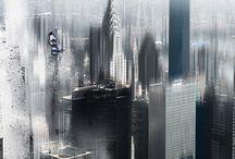 """Photo montage : série """"Impressions Urbaines..."""" / impressions superpositions transparences... Les villes inspirent un espace en mouvement où l'on  érige,  transforme,  détruit,  pour toujours reconstruire..."""