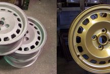 Before & After Powder Coating / Car and motorcycle rims, wheels, parts, and accessories before and after powder coating at our Englewood, CO facility.