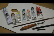 pintura al óleo con espátulas