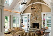 Rustic Family Room Reno. Inspiration board. / Fireplaces, beams, wood floor, rustic living room, den. / by Dionne Trifiro
