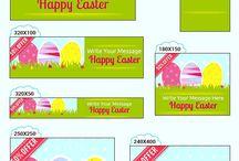 Happy Easter Banner Ads Set