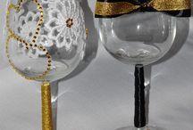 Szampanówki recznie zdobione / Kieliszki do szampana/wina ozdobione recznie