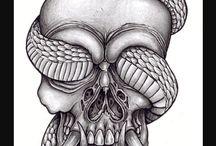 Tattoo skull and snake