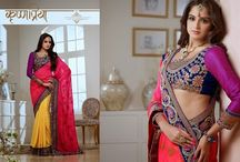 Sanskar Sarees / Superb Designer Party wear Saree's with Contrasting Pallu and Contrast matching Blouse. Heavy work en-crafted all over.
