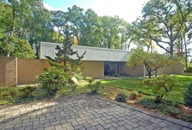 """RM 1965 Parents' House / RICHARD MEIER   1965 - The Jerome and Carolyn K. Meier House, 183 Devon Road, Essex Fells NJ.  Meier's clients were """"the most rewarding and the most challenging for a young architect: one's own parents.""""  Bottom two photos by Bill Maris/ESTO.  Won a 1964 Architectural Record Award.  Won a 1965 AIANY Merit award.  Won a 1965 National AIA Award of Merit.  Sold to Daniel and Judith Spritzer.  Architect Thomas Juul-Hansen did a renovation.  For sale 2010-2013, then removed."""