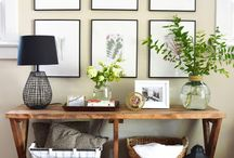 Gallery wall and console tables