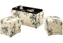 Leather Storage Bench & 2 Ottmans Set