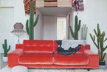 red velvet couch living room