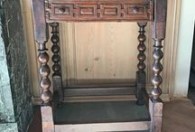 ANTIQUE SPANISH TABLE / Antique Spanish table features barley twisted legs and carved drawer.