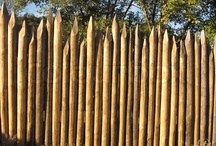logs wood fence stake