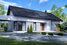 HomeKONCEPT 45 | Projekt domu / HomeKONCEPT 45 to projekt nowoczesnego domu parterowego z poddaszem użytkowym. Na uwagę zasługuje interesująca stylizacja elewacji oraz intrygujące, ozdobne  belkowanie wokół budynku. https://www.homekoncept.com.pl/produkt/projekt-domu-homekoncept-45/