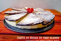 Tarta de crema de vino blanco / Tarta de crema de vino blanco fácil receta casera, paso a paso  http://www.golosolandia.com/2014/08/tarta-de-crema-de-vino-blanco.html