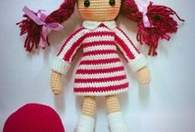 Red pigtails crochet doll