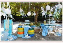 Vintage baptism decoration by the sea