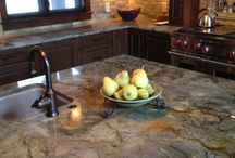 Quartzite Countertops / Quartzite is a natural stone with high durability like Granite but with smoother movement like marble. Add some art by Mother Nature to your space. Take inspiration from this board.