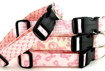 Pink Ribbon Collars / Pink ribbon, breast cancer awareness dog collars, cat collars, dog leashes and blankets. $9.00 - $19.00