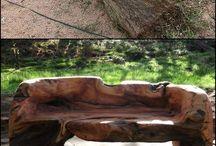 træ stamme møbler