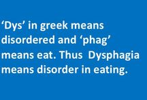 What is Dysphagia? / Dysphagia is a word derived from Greek. 'Dys' in greek means bad or disordered and 'phag' means eat. Thus literally, dysphagia means disorder in eating. In medical language 'Dysphagia' is a term used to refer to 'difficulty in swallowing'. In the medical field, in a broader sense, dysphagia may refer to the sign, symptom or even the condition of 'difficulty in eating'. Thus dysphagia basically suggests difficulty in moving solids or liquids from mouth into the stomach.