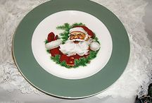 """VINTAGE 40'S SANTA COOKIE PLATE-SYRACUSE CHINA-LARGE 10.5""""-PRISTINE-CHECK IT OUT!"""