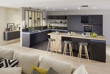 Kitchen with island and wooden floor