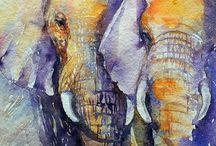 Pinturas Al Oleo Elefantes