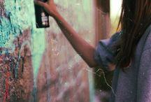 Girl spray paint