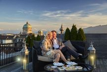 Sky Terrace / The elegant Sky Terrace offers you a 360° panorama view over the UNESCO world cultural heritage of Bern. In an atmosphere reminiscent of the Orient enjoy refreshing cocktails creations, light summer dishes mezze-style with gentle lounge music in the background.