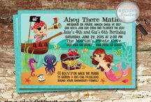 "Mermaid Pirate Birthday Invitation Set / Ahoy Matey! Check out this adorable Mermaid Pirate design set that is perfect for your upcoming ""Under the Sea"" birthday party!"