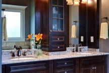 Bathroom cabinetry, granite, sinks!