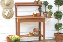In the yard - Potting benches