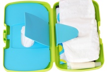 the essential diaper wallet / Everything you need for a quick diaper change in one clever little box.  Features, built in wipes box, space for two nappies and a funky changemat. BPA, Phthalates and PVC free.