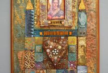 Laurie Mika / Polymer mosaic collage, rich in color and texture