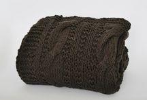 Scandinavian cotton blanket throw - braided design / Scandinavian knitted cotton blanket, throw. Braided design / ręcznie dziergany na drutach pled koc w warkocz