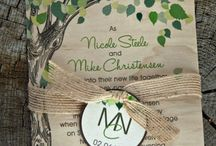 Nature inspired wedding invites / purple and green, oak tree/leaves, and maybe biking to some extent.