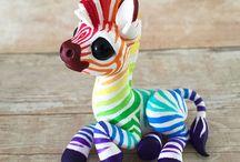 rainbow zebra by dragon and beasties