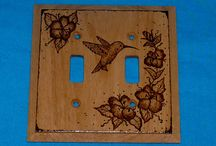 Custom Wood Burned Light Switch Plate Covers / Custom rustic wood burned double and single light switch plate covers.