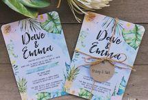 Rosa & Oles bryllup - invitationer/bordkort