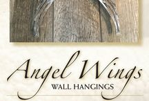 Angel Wing Driftwood Seashell Wall Hangings / Hand-crafted angel wing wall hangins created by artist Susan Fairgrieve from raw materials. Collected, local Jersey Shore driftwood and seashells make these pieces unique and special, each on an original.