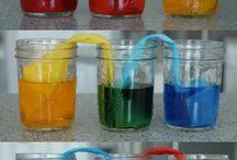 el agua de colores
