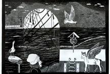 LINOCUT and others graphics by uljado / #uljado #katarzynaociepska #linocut #linoryt #print #printing