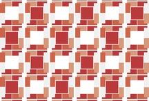 deco red / diagonal/quare geometric forms.