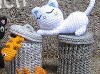 patron de gato con cubo amigurumi