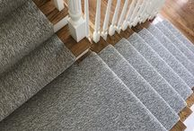 Stair Runner with Geometric Wallpaper