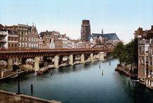 Kleurenfoto's v. Rotterdam voordat het werd platgegooid