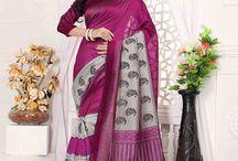 Magnificent Bhagalpuri Silk made printed Traditional Sarees / Visit us at http://whitemango.in/