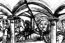 """Illustrationen für den Kurzfilm """"Piedra Ardiente"""" / """"Piedra Ardiente"""" beruht auf einer wahren Begebenheit, die sich in Nordspanien zugetragen hat. Der Kurzfilm begibt sich auf die Spurensuche nach Freundschaft, Liebe, Verrat und Mord. Im Vordergrund steht jedoch die Buddhistische Ethik: """"Hass ist wie ein brennender Stein, der zuerst jene verbrennt, die ihn werfen."""""""