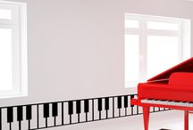Music Room Decoration / Art, wallpaper, furniture, and accessories for decorating a studio  or music room.