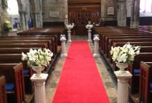 Church decorations - Red aisle runner with pedestals / Church wedding decorations, aisle runner and pedestals